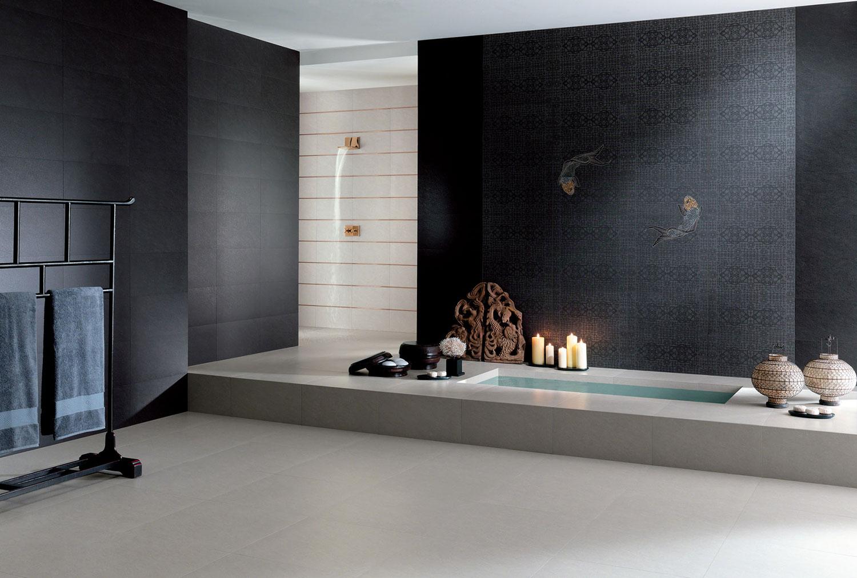 Badezimmerfliesen Schwarz | Fliesen Schwarz für Badezimmer ...